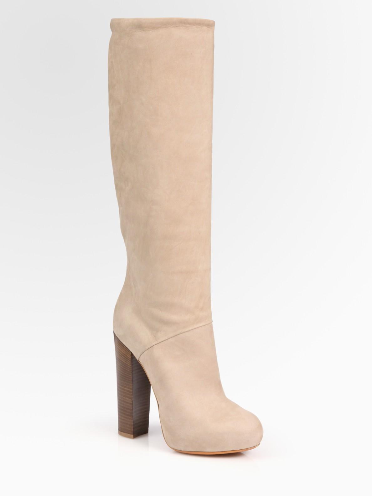 B Brian Atwood Pheonicia Nubuck Leather Knee High Platform
