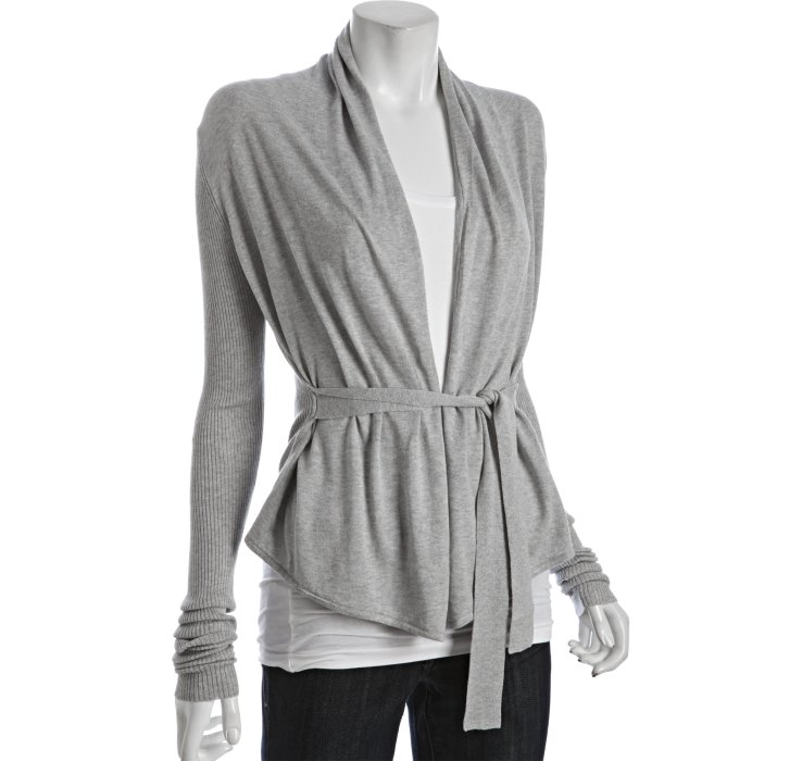 Bcbgmaxazria Heather Grey Silk-cotton Wrap Cardigan in Gray | Lyst