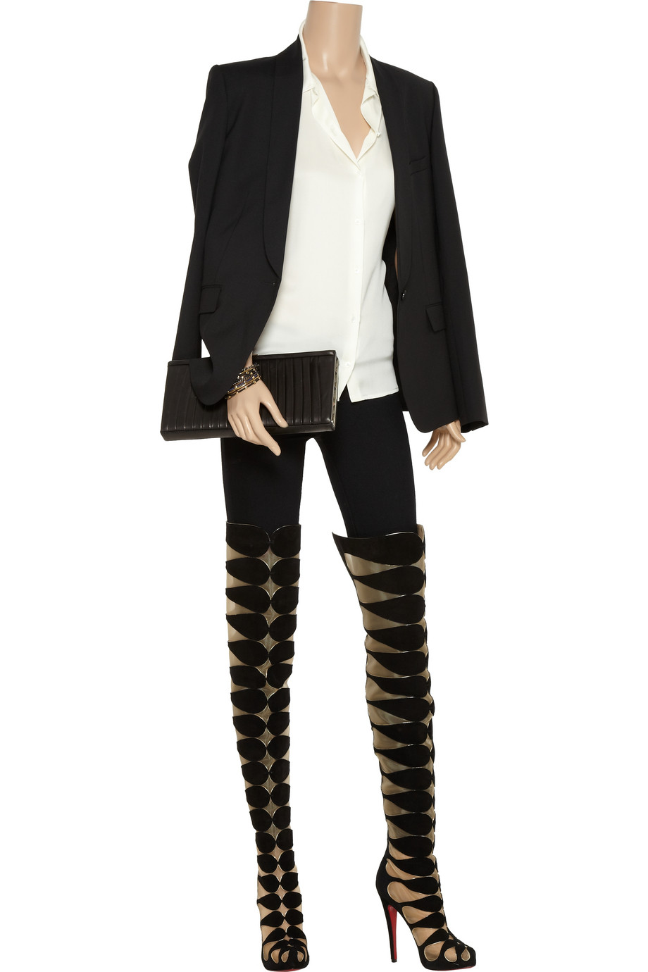 low priced 4ec5b 08a77 Christian Louboutin Black Lola Montes 140 Cutout Suede Thigh Boots