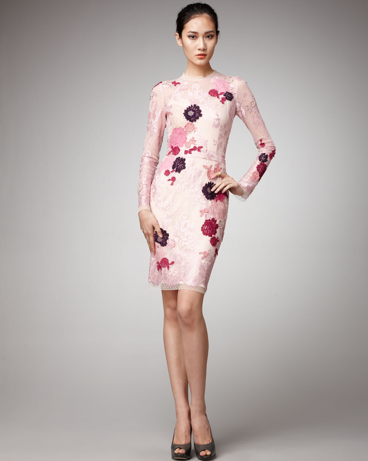 lyst dolce amp gabbana floral lace dress in pink