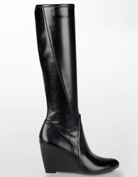 franco sarto vent leather wedge boots in black black