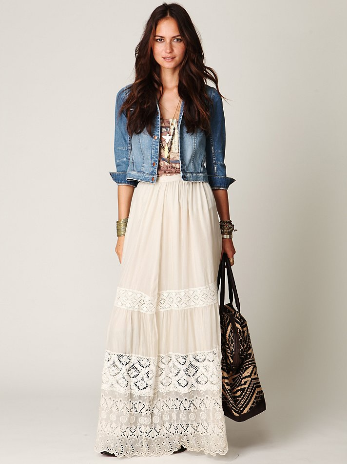 Free people Demure Lace Maxi Skirt in White | Lyst