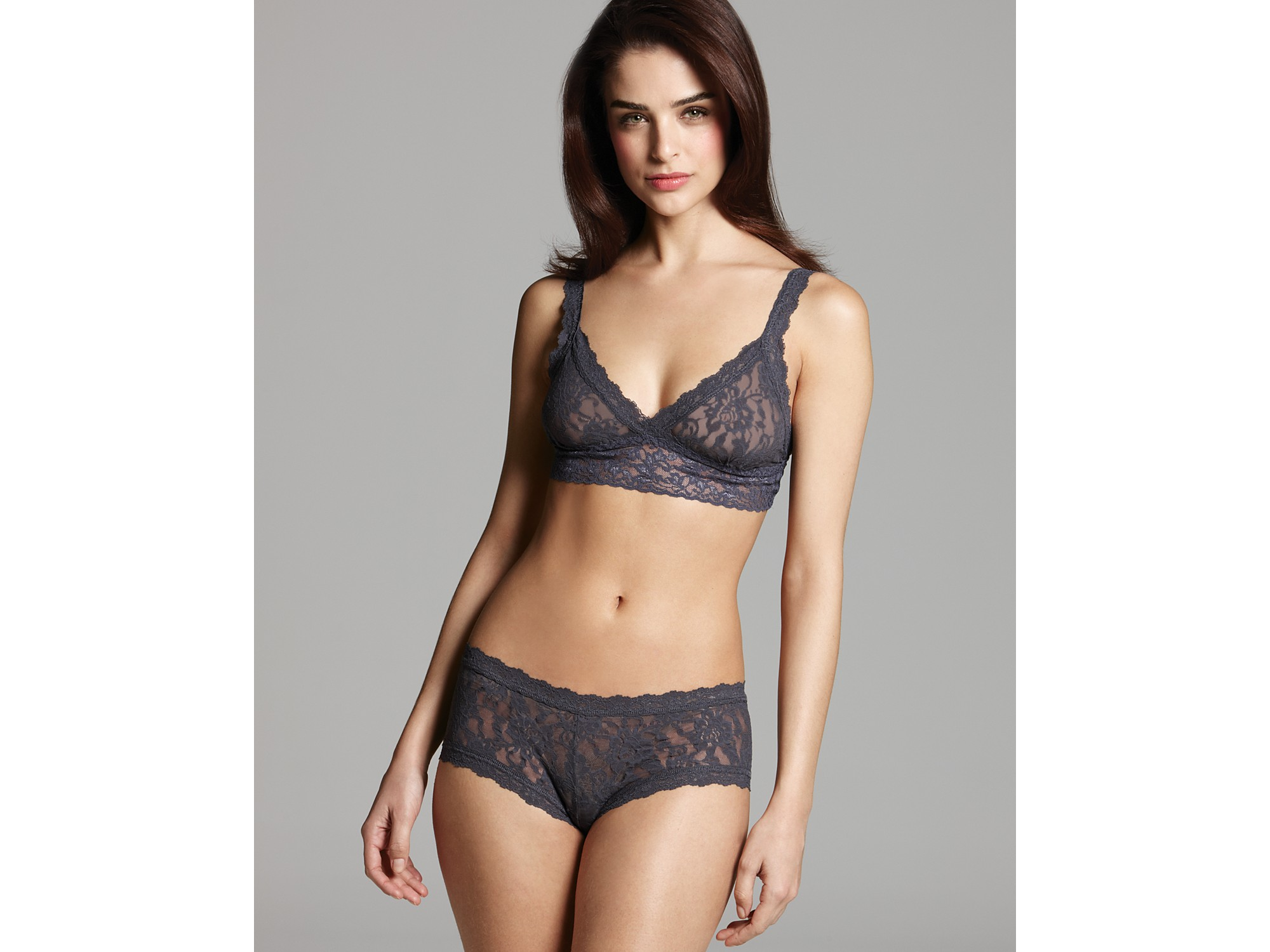 f1d5cb2281 Lyst - Hanky Panky Signature Lace Crossover Bralette in Gray