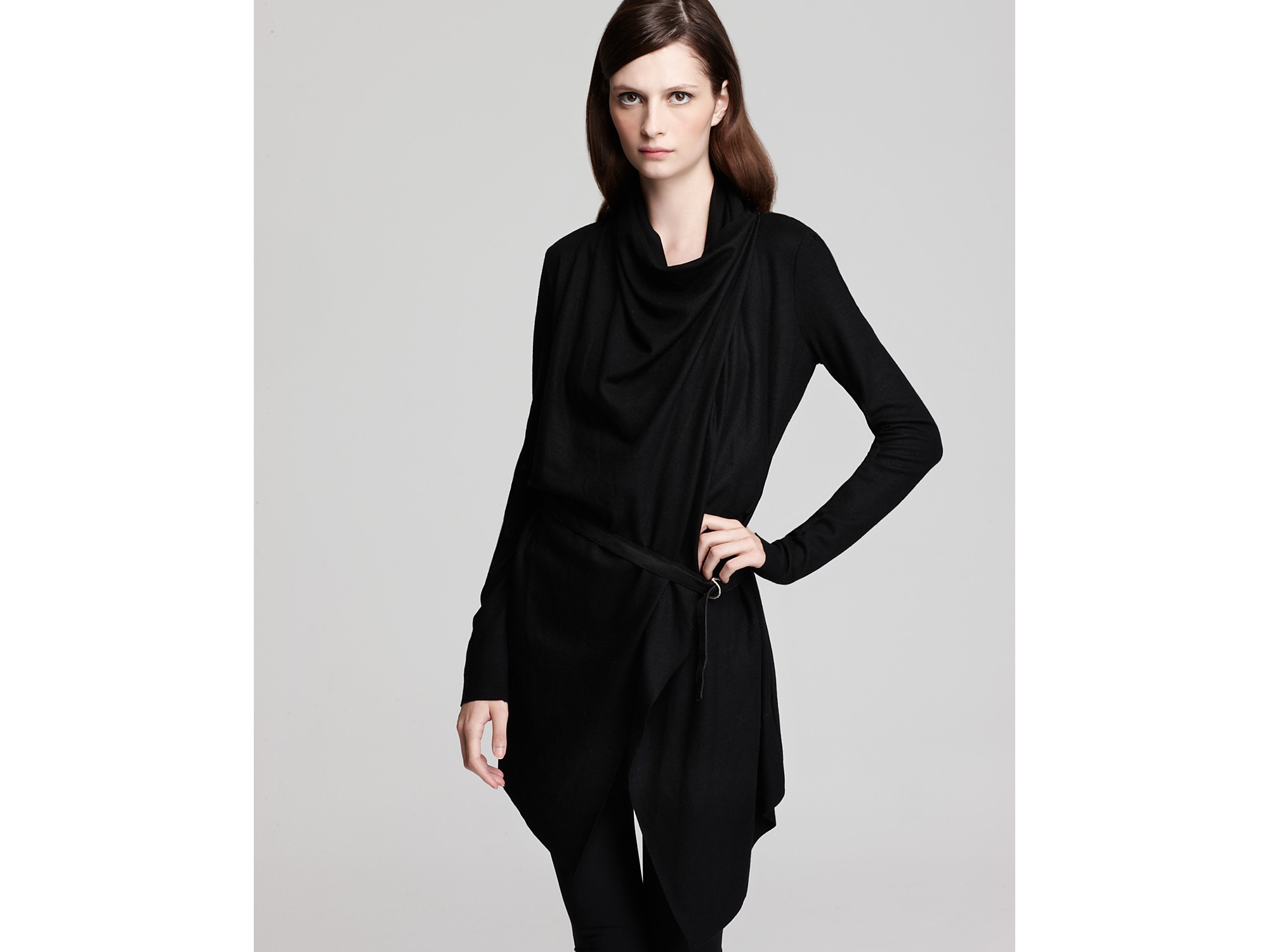 Helmut lang Long Sleeve Belted Cardigan in Black | Lyst