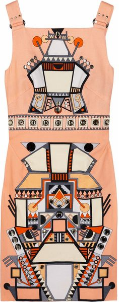 Holly Fulton Panama Printed Cotton Dress in Orange