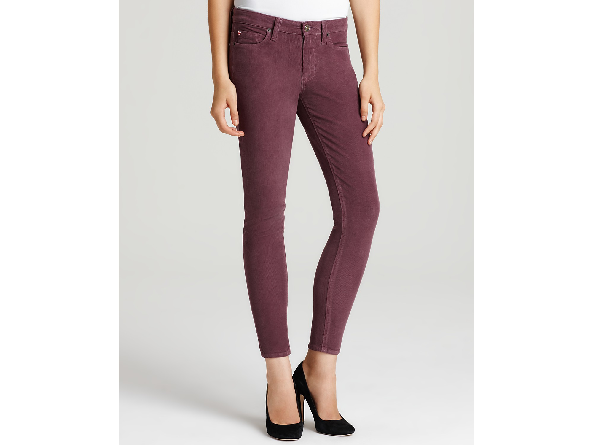 Hudson jeans Nico Super Skinny Corduroy Pants in Plum in Purple | Lyst
