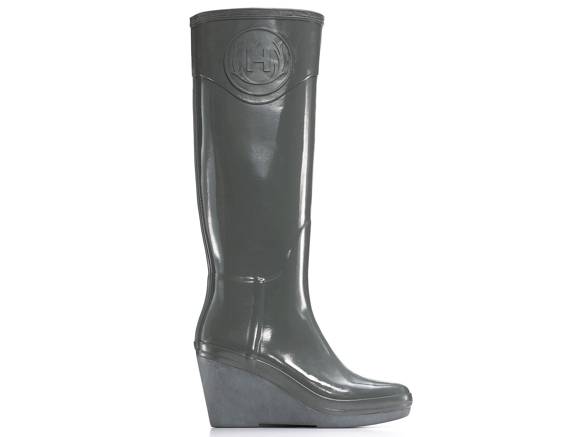 Hunter Champery Wedge Rain Boots in Gray | Lyst