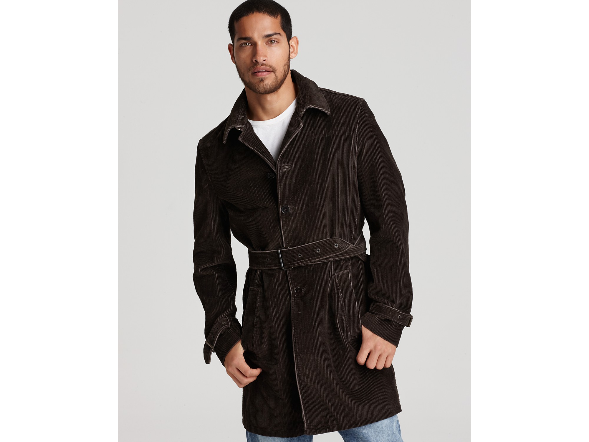 hot products genuine wide selection of designs John Varvatos Brown Star Usa Belted Corduroy Trench Coat for men