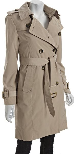 London Fog Removable Lining Double Breasted Trench Coat in Beige (tan)