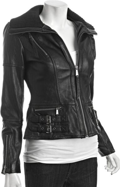 Michael Michael Kors Black Leather Knit Collar Bomber Jacket in Black