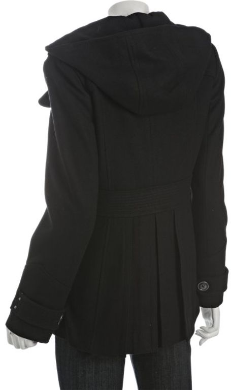 Miss Sixty Black Wool Double Breasted Hooded Peacoat in Black