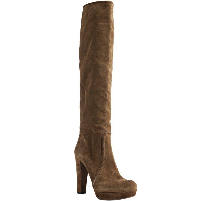 prada light brown suede knee high platform boots in brown