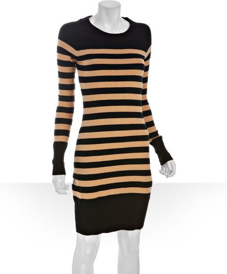 Qi Camel Striped Cotton Cashmere Knit Sweater Dress In