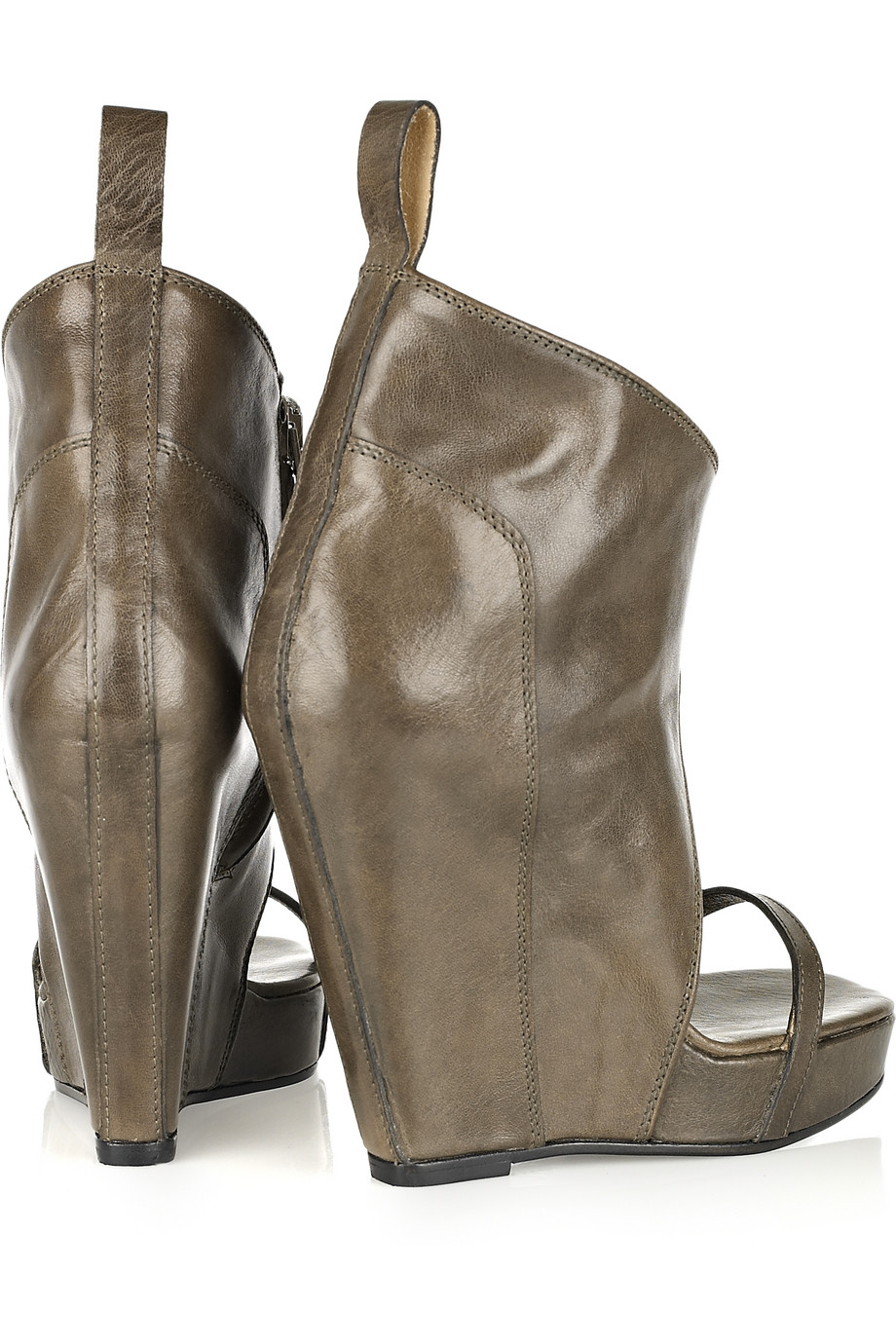 rick owens open toe wedge leather ankle boots in gray lyst