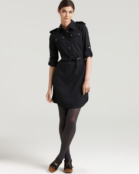 burch tanyei sleeve shirt dress with belt in