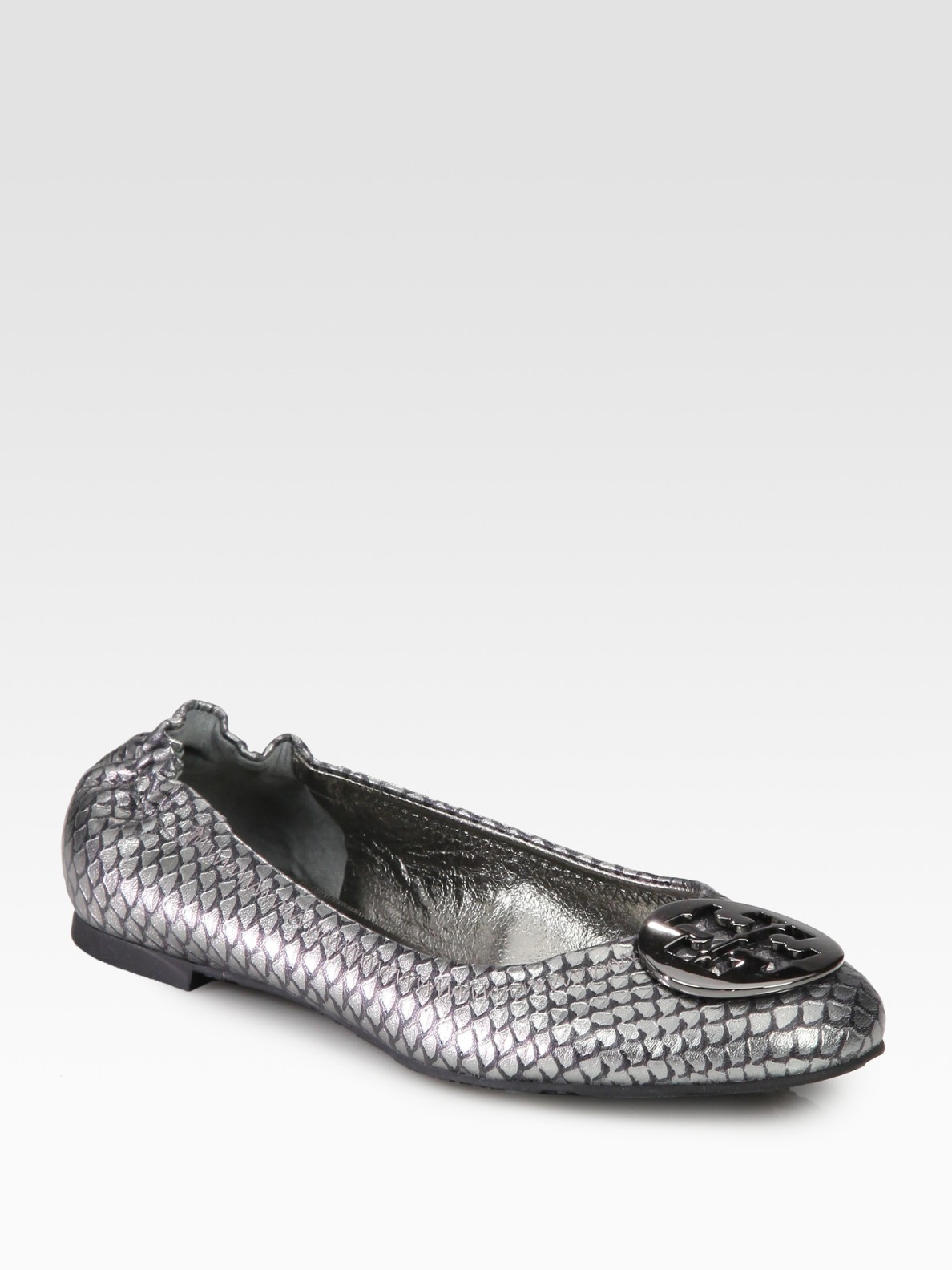 Lyst Tory Burch Reva Fish Scale Embossed Foil Leather