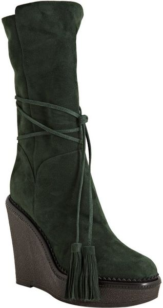 laurent green suede yda 90 wedge boots in green lyst