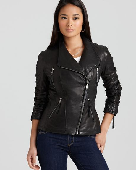 michael kors michael asymmetric zip front leather jacket in black lyst. Black Bedroom Furniture Sets. Home Design Ideas