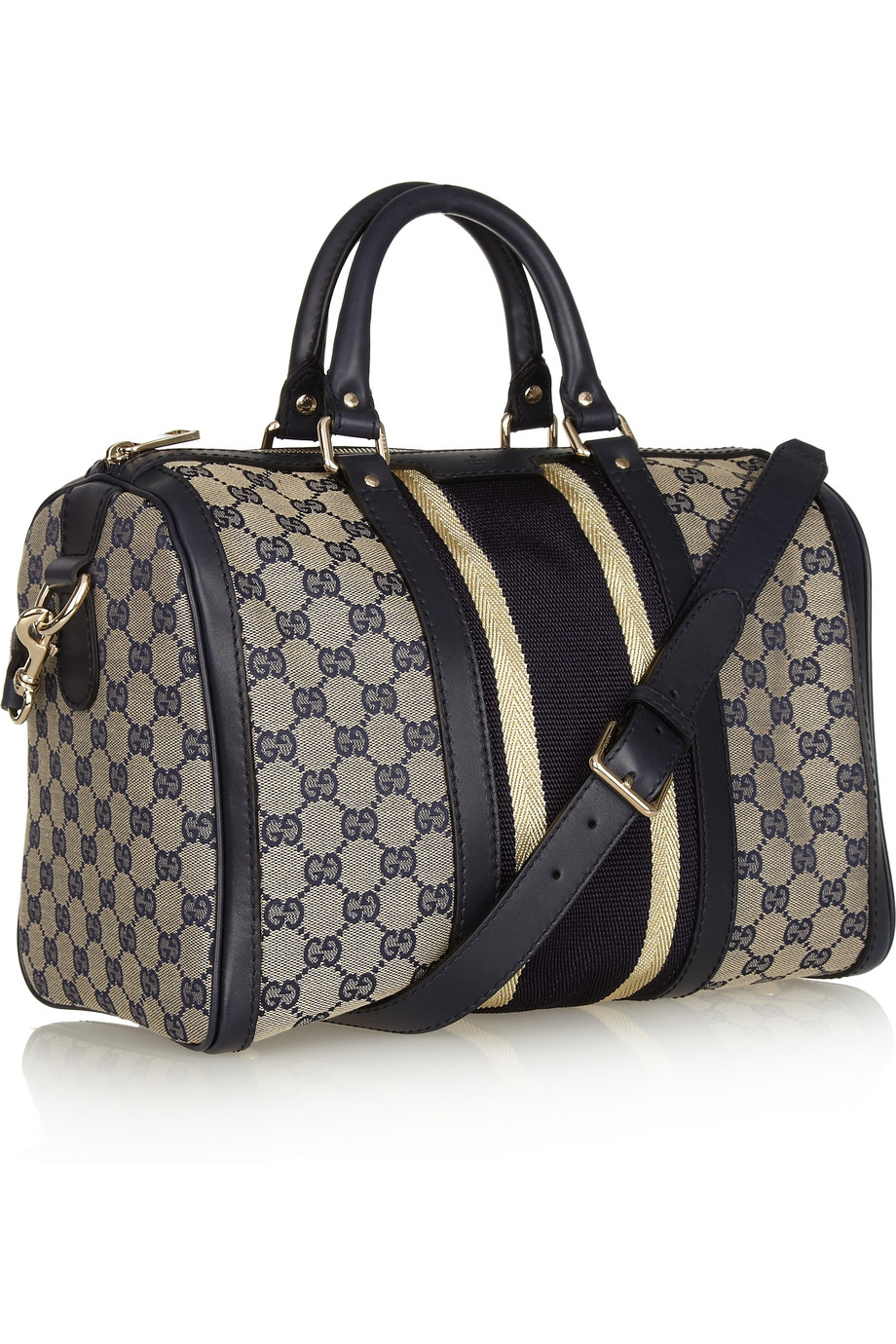 f92ccbfa57e6 Gucci Leather-trimmed Canvas Bowling Bag in Natural - Lyst