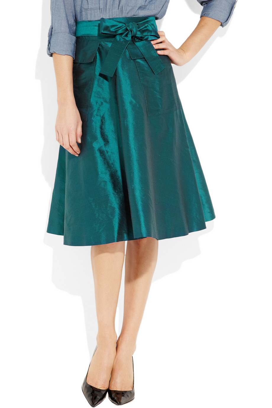 J.crew Silk-shantung A-line Skirt in Blue | Lyst