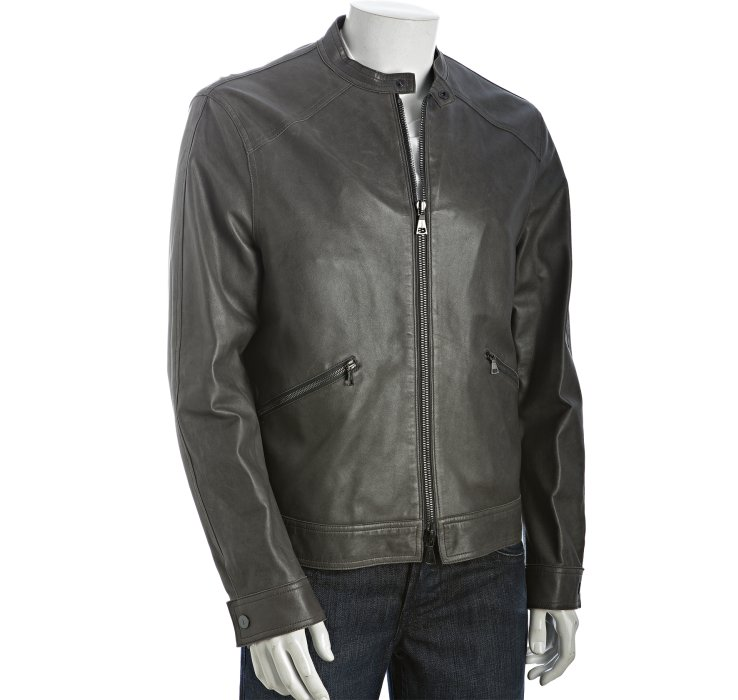 Lyst John Varvatos Titanium Leather Zip Front Jacket In