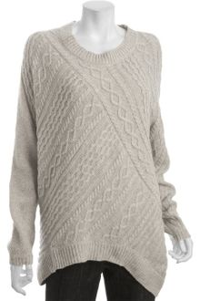 BCBGMAXAZRIA Light Heather Cotton-wool Asymmetrical Cable Knit Sweater - Lyst