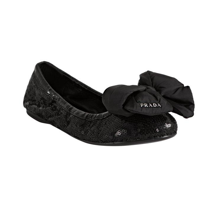 756a76e6bf Prada Black Sequin Bow Detail Ballet Flats in Black - Lyst