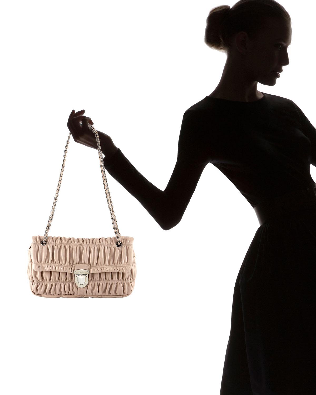 cd25ebd65d74 ... discount lyst prada napa gaufre chain shoulder bag in black 49122 86150