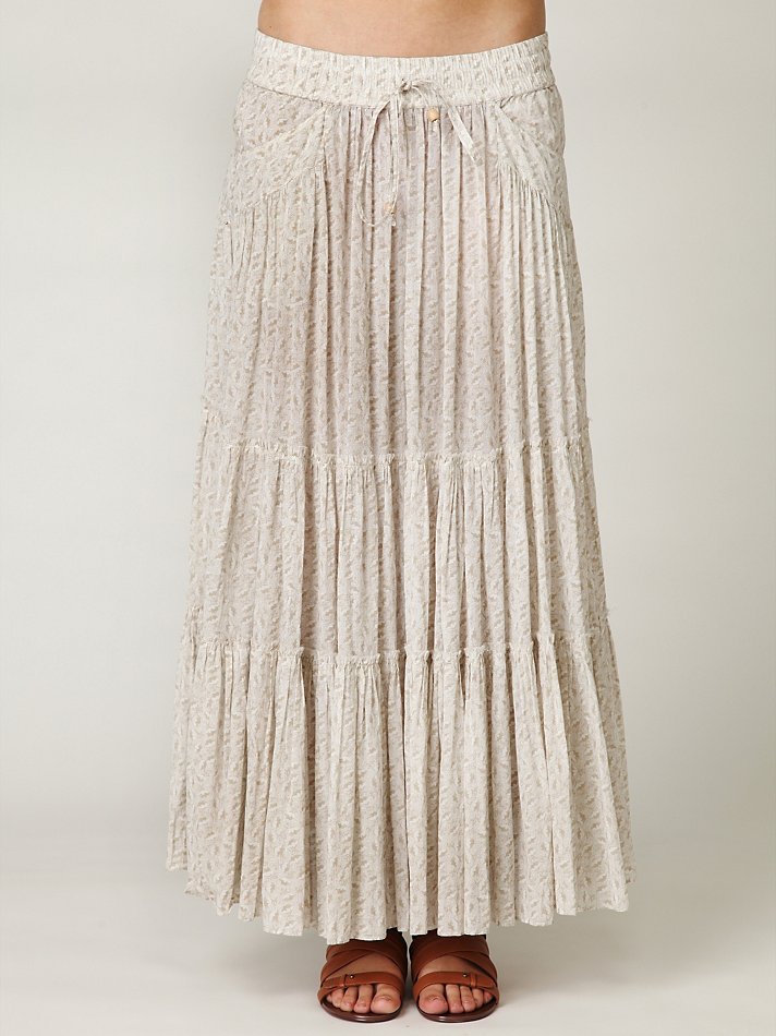 Free people Tiered Maxi Skirt in Natural | Lyst