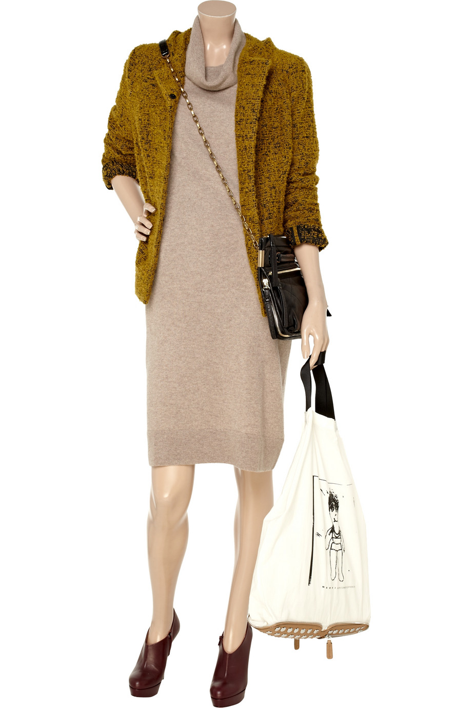 N Peal Cashmere Turtleneck Cashmere Sweater Dress In Brown