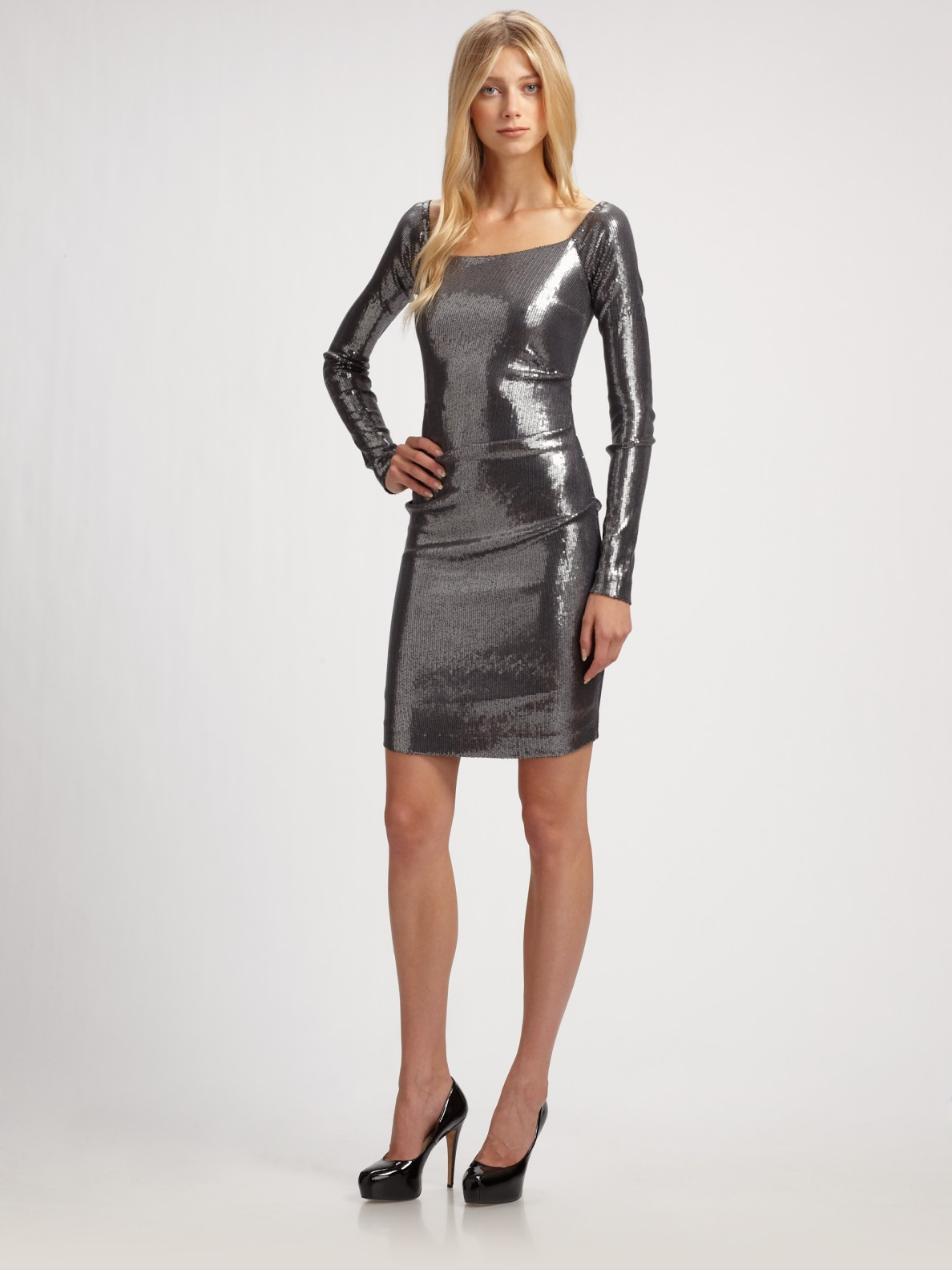 Lyst Nicole Miller Sequined Dress In Metallic