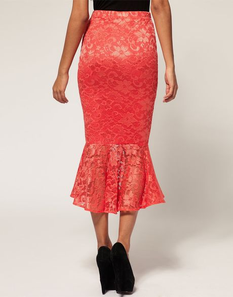asos collection lace pencil skirt with fishtail hem in
