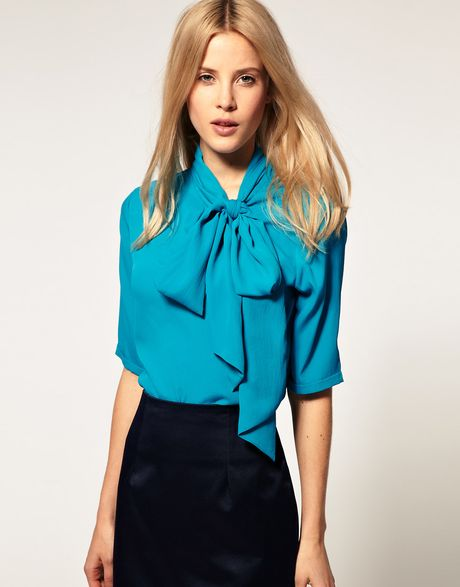 Asos Collection Blouse With Side Tie Pussybow In Blue