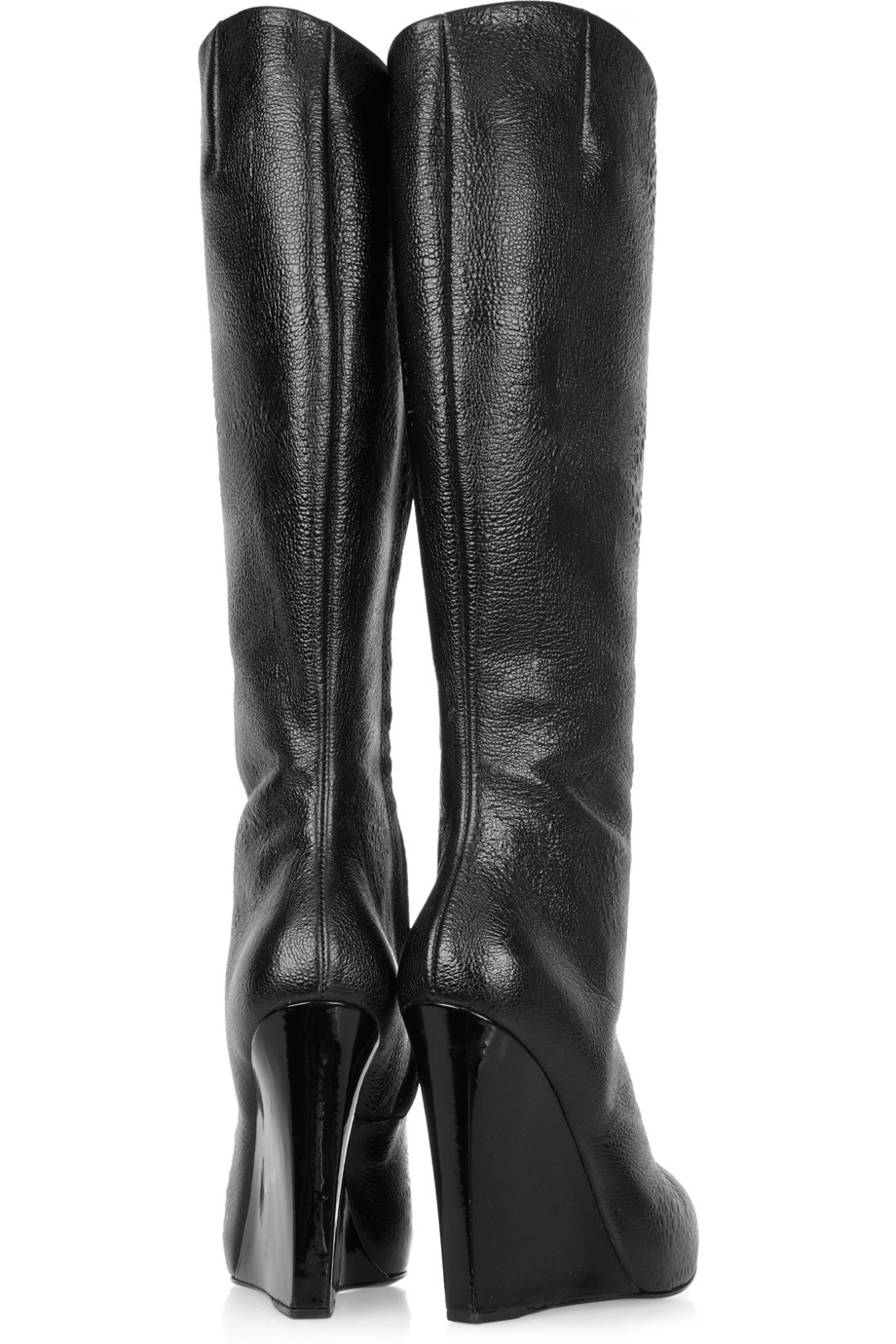 Giuseppe Zanotti Cindy Ostrich-effect Leather Knee Boots in Black