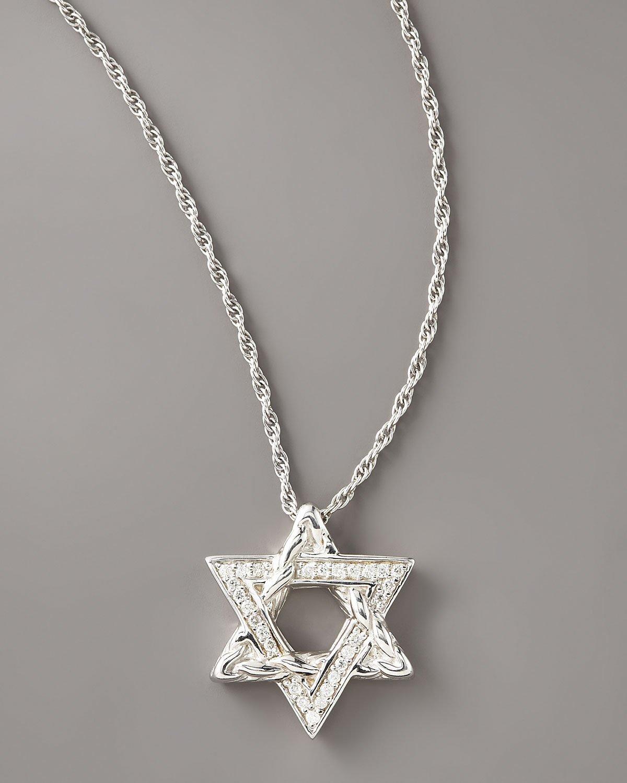 John hardy diamond star of david pendant necklace in metallic lyst gallery aloadofball Choice Image