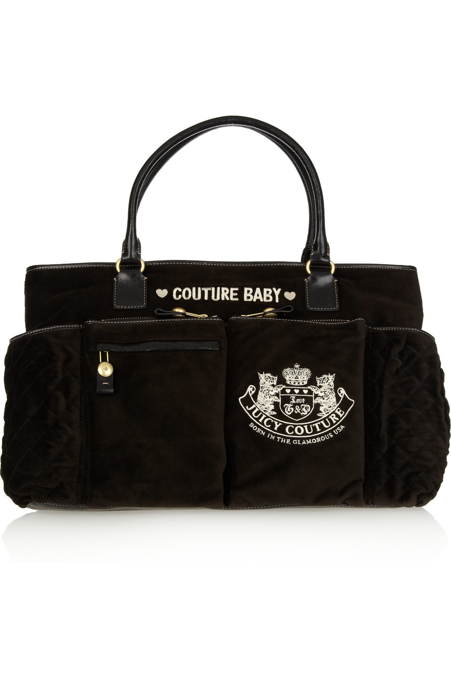 juicy couture baby bag velour and leather tote in black lyst. Black Bedroom Furniture Sets. Home Design Ideas