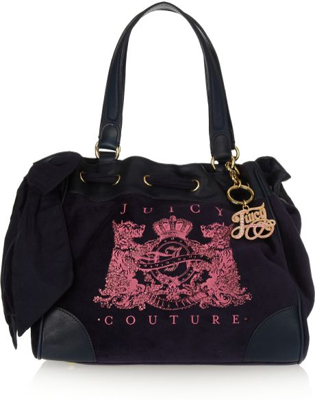 Juicy Couture Daydreamer-scotty Velour and Leather Tote in Pink (black)