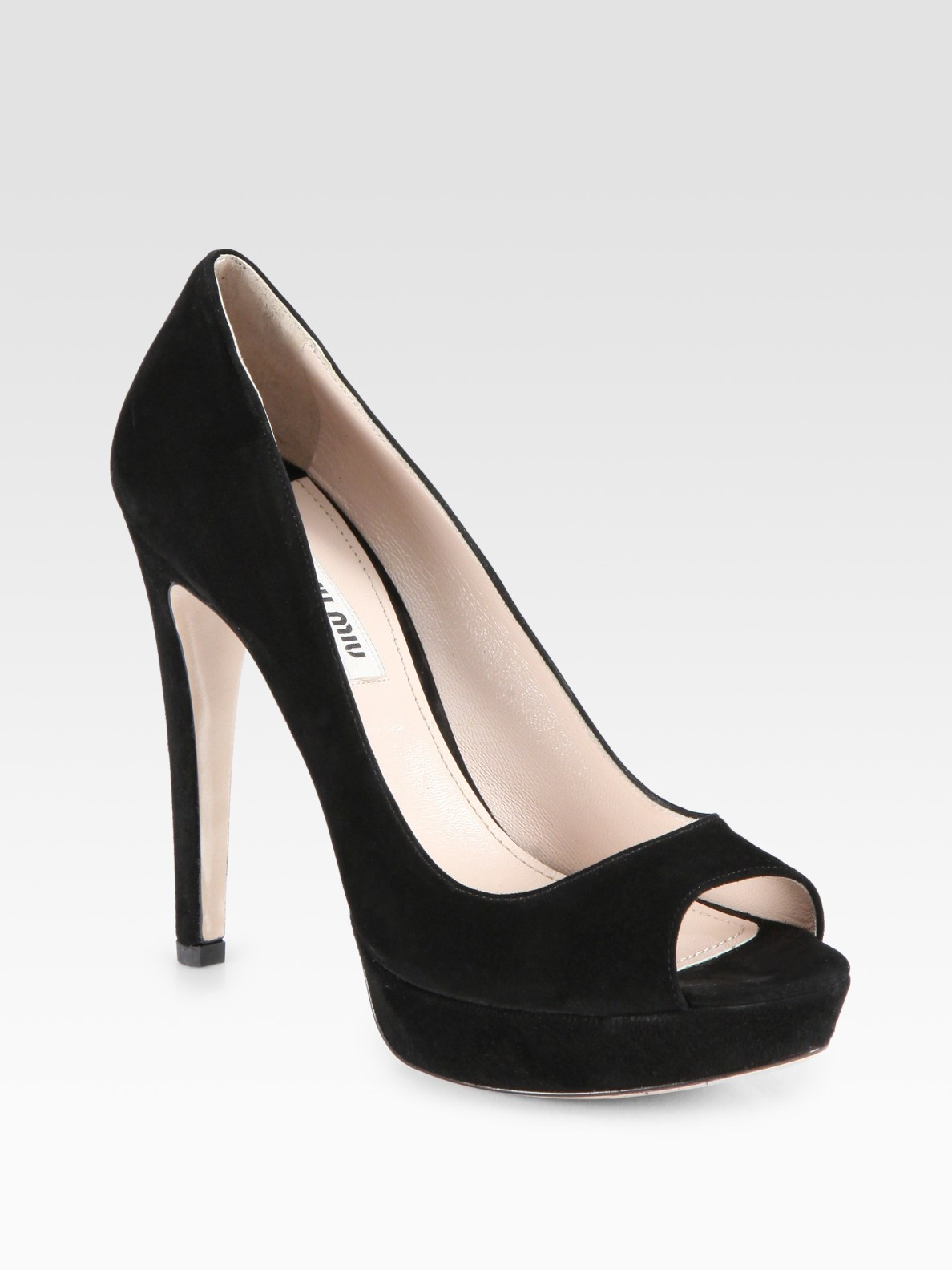 Black Patent Peep Toe Platform Shoes