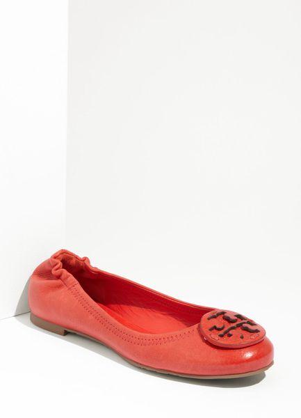 tory burch reva ballerina flat in red red volcano lyst. Black Bedroom Furniture Sets. Home Design Ideas