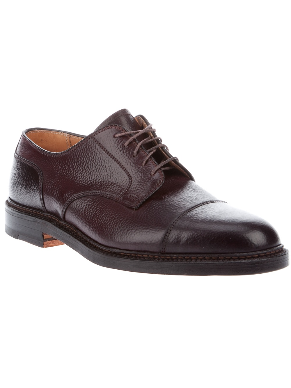 alden leather oxford shoe in brown for lyst