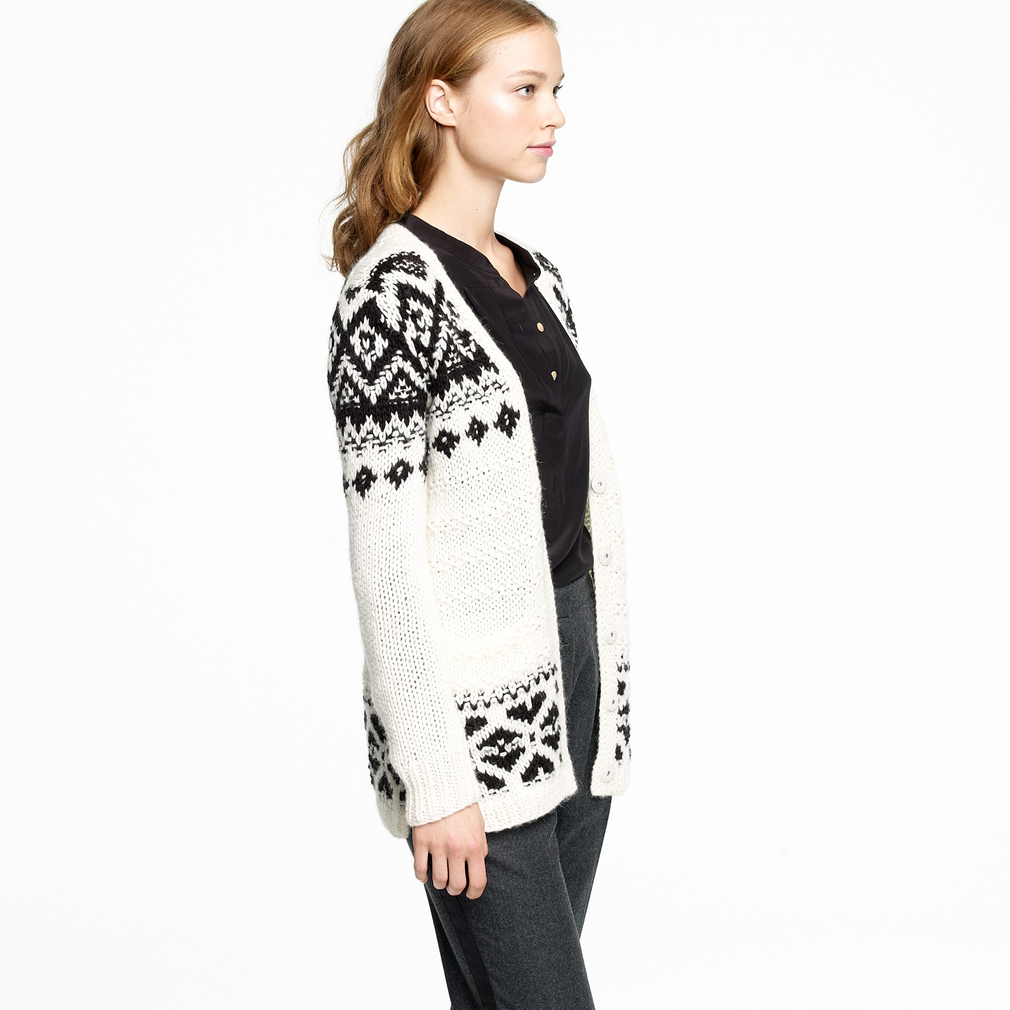 J.crew Oversize Fair Isle Cardigan in Black | Lyst