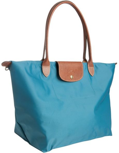 Longchamp Paon Nylon Le Pliage Large Folding Shopper Tote in Blue (teal)