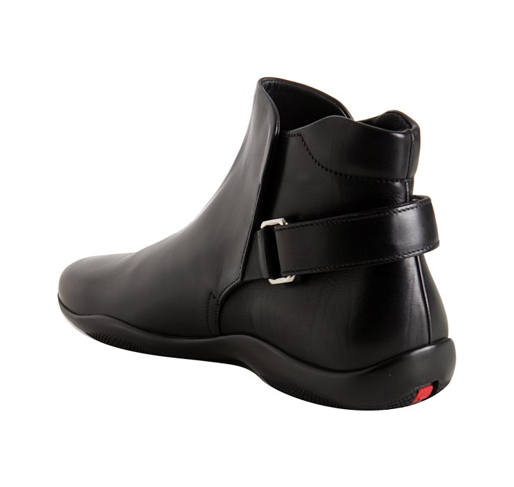 Lyst Prada Black Calfskin Ankle Strap Boots In Black For Men