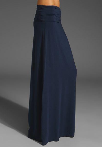 Splendid Lycra Long Skirt In Blue Navy Lyst
