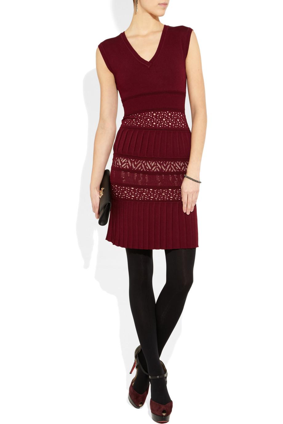 Catherine Malandrino Pointelle Knit Stretch Jersey Dress