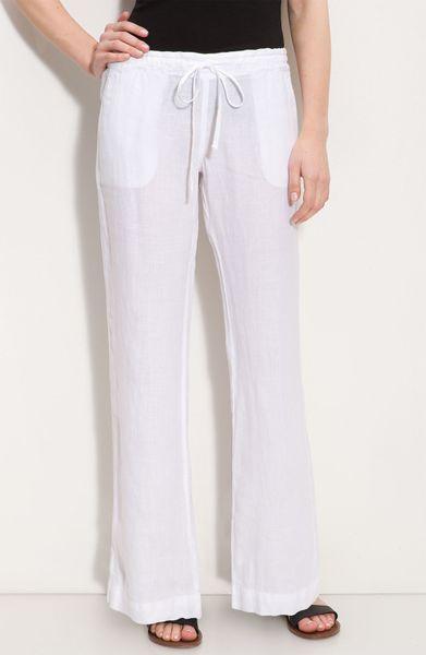 Allen Allen Drawstring Linen Pants In White Lyst