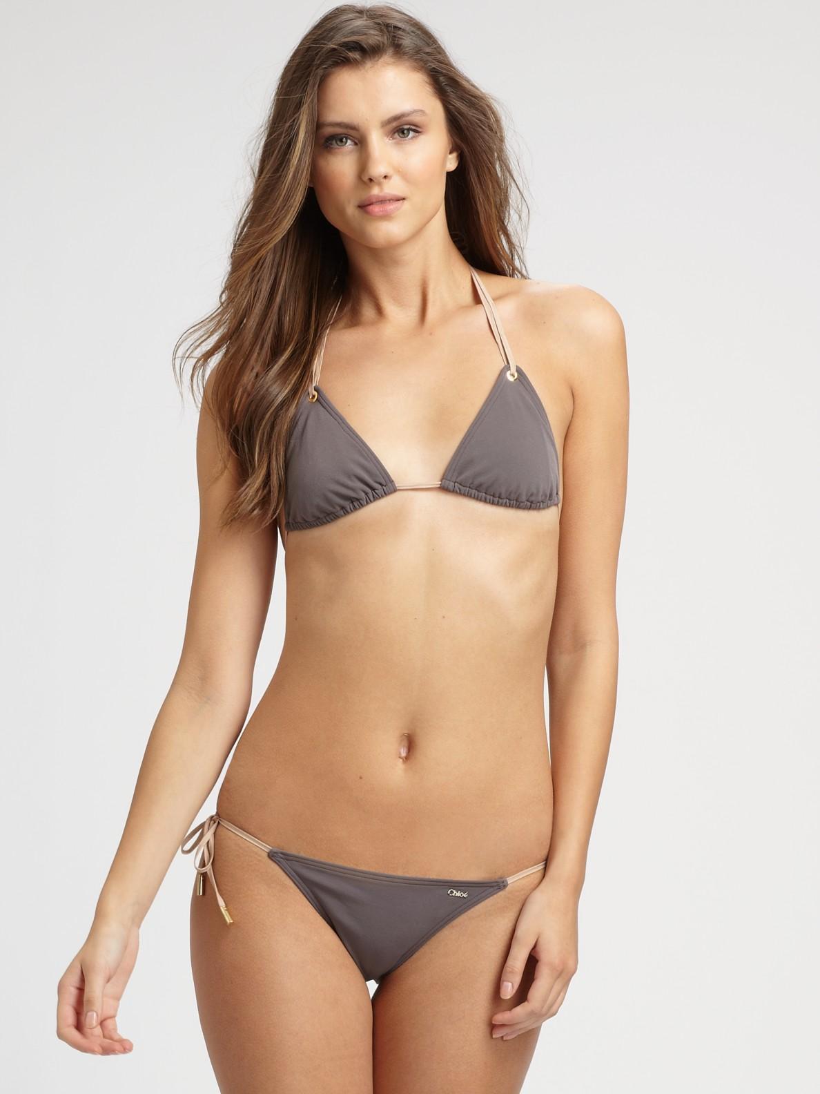 Chlo 233 Double Tie String Bikini Swimsuit In Brown Lyst