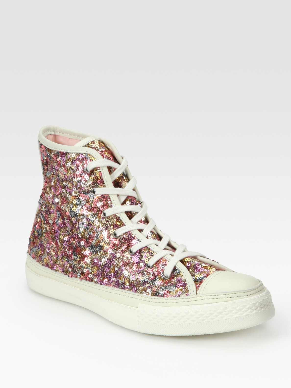 65f7e5e6572c Lyst - Converse Sequin High-top Sneakers in Pink