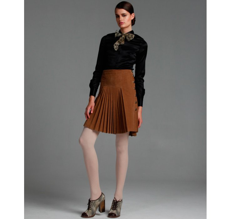 Dolce & gabbana Light Brown Stretch Corduroy Pleated Skirt in ...