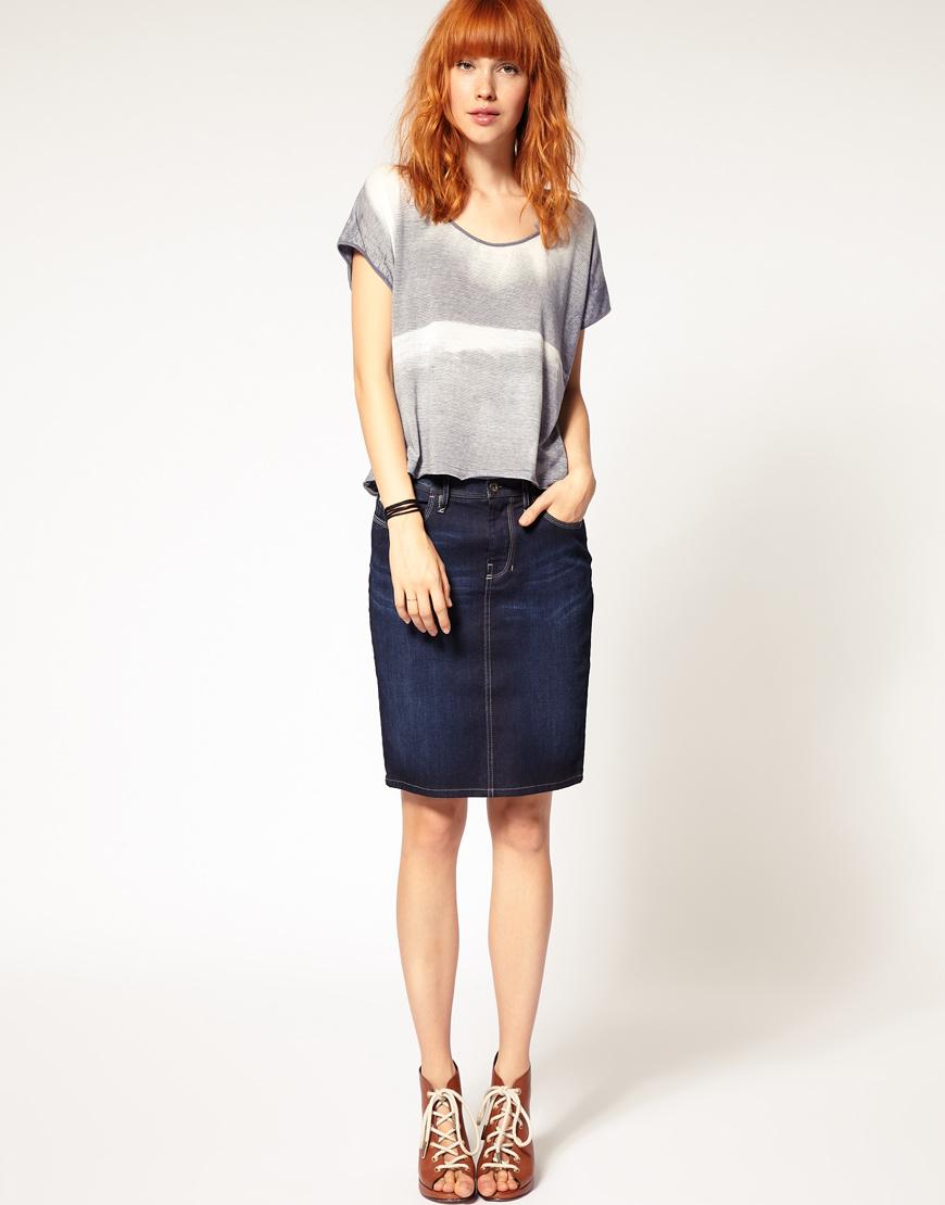 Diesel Denim Pencil Skirt in Blue | Lyst